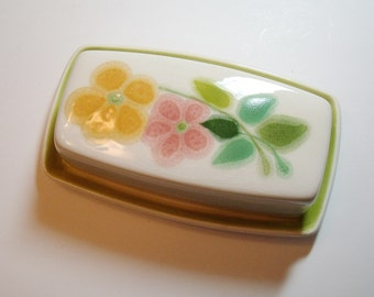 Vintage Franciscan Covered Butter Dish Pink Orange Flowers