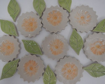 Mosaic Flower Tiles-Yellow and Off White Mosaic Flower Garden Tiles 2. each