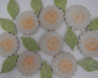 Mosaic Flower Tiles-Yellow and Off White Mosaic Flower Garden Tiles 2.00 each