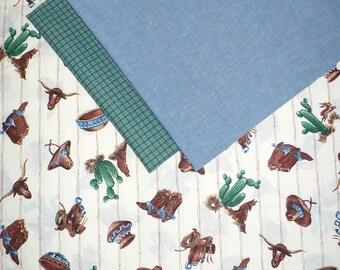Western Fabric Bundle, 1.5 YARDS, Vintage, Cowboy, Blue Chambray, OOP, quilting, cotton, destash