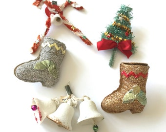 LOT of 5 Vintage Christmas Package Decorations Tree Boots Bells Candy Canes Chenille Spun Cotton Glitter