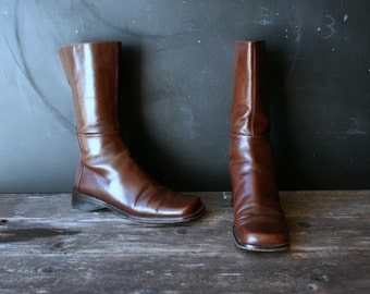 Italian Handmade  Leather Boots Bohemian Fashion Quirky Cool 90s Grunge Vintage by Nowvintage on Etsy
