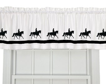 Dressage Horse Window Valance Curtain - Your Choice of Colors