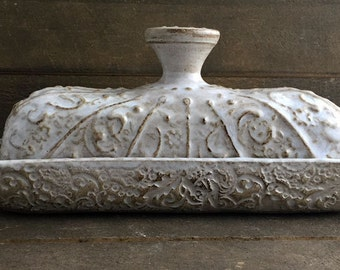 Vintage White Covered Butter Dish