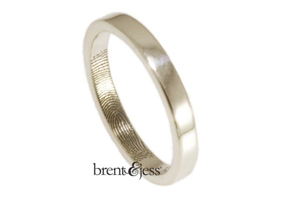 Narrow 3mm Fingerprint Wedding Ring with Wrapped Print on the Inside - Sterling Silver Fingerprint Ring