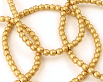 Czech Glass Matte Gold Round Druk Beads 4mm - 50