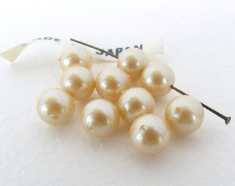 Vintage Japanese Beads Ivory Pearl Beige Tan Off White Glass Rounds 8mm vgp0550 (10)