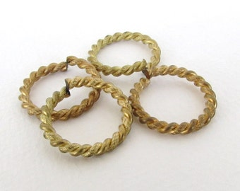Vintage Jump Ring Large Rope Fancy Gold Tone Metal Bead Finding Open 25mm vfd0277 (4)