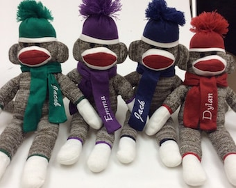 Sock Monkey, personalized, sock monkey with name, sock monkey with hat and scarf