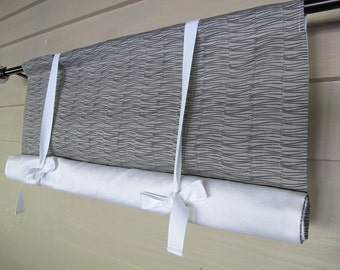 Gray and Black 48 Inch Long Stage Coach Blind Tie Up Curtain Swedish Roll Up Shade