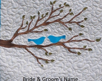 Personalized Wedding Wall Hanging Quilt or Anniversary Wall Hanging Quilt