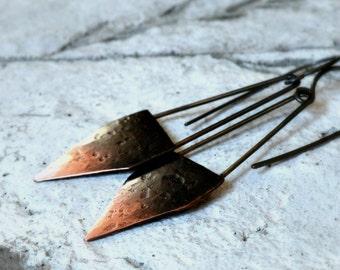 pen nib earrings, hammered copper earrings, ombre patina, oxidized sterling silver, rustic earrings, modern - Inked