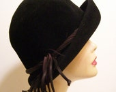 Vintage Black Fur Felt Women's Hat