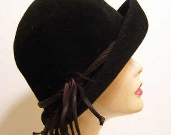 Vintage Black Fur Felt Women's Hat