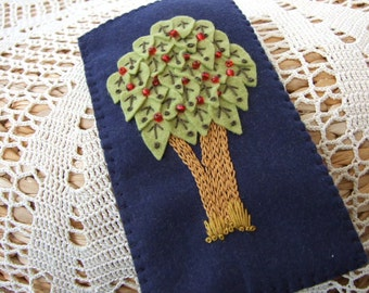 Hand Embroidered  Navy Blue Felt Glasses Case