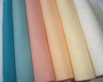 Wool blend Felt by the sheet  6 x 9  sheets The Cool collection  6 sheets