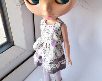 Lilac sleeveless top and short skirt set for Blythe doll
