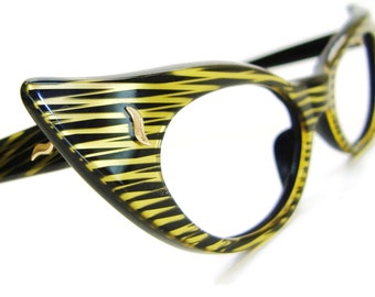 Vintage 50s Cat Eye Eyeglasses or Sunglasses Frame UNIQUE Tiger Striped