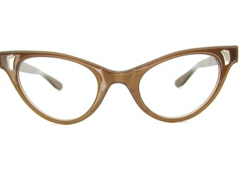 Vintage Cats Eye Eyeglasses Sunglasses Frame Satin Brown