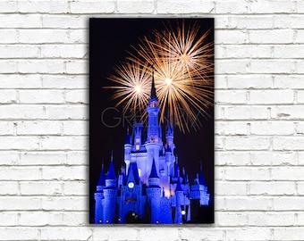 Disney photography, Cinderella Castle, Disney princess decor, nursery decor, Disney art, Disney poster, fireworks, kids room art, greenpix