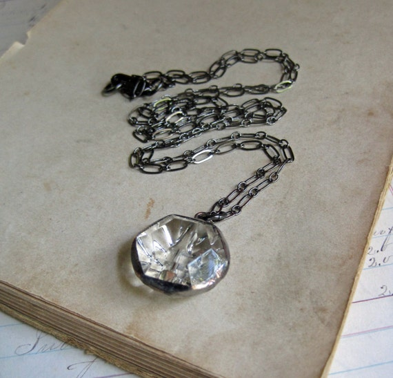 Faceted Glass Button Pendant Boho Jewelry Long Necklace