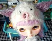 OOAK Fluffy bear  helmet for Blythe Doll