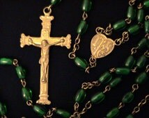Vintage Emerald Green Glass Brass Rosary