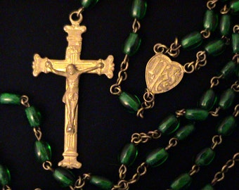 Vintage Emerald Green Glass and Brass Rosary