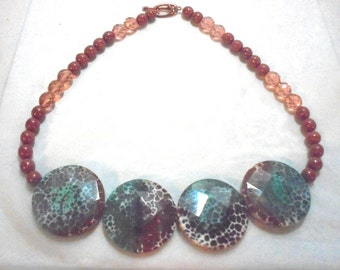 OOAK Unusual Bead Necklace, Goldstone, Glass Bead's, Spotted Disks