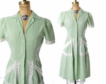 "vintage 1930s dress / green striped seersucker dress / 30s dress .. 27"" waist"