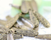 Ornate Small Teardrop 5x16mm Antique Brass Art Deco Charms - 20 .
