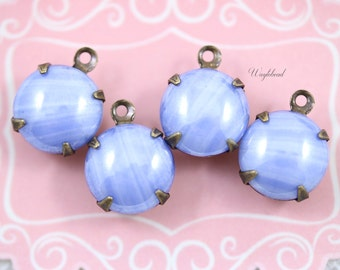 Vintage Glass Round Stones 1 Ring Closed Back Brass Prong Settings 11mm Pearlized Blue - 4