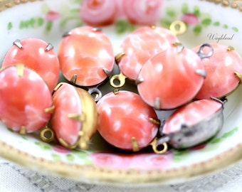 Vintage Glass Oval Set Stones Connector Link Drop Closed Back Brass Prong Settings 12x10mm Coral and White - 4