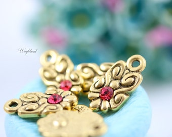 Antique 22K Matte Gold Plated Pendant with Indian Pink Swarovski Rhinestones 8x16mm Metal Casting Rococo Nouveau Charms - 4