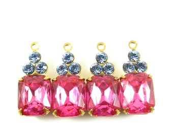 Set Stones Vintage Octagon Stone and Swarovski Crystals 1 Ring Brass Settings Rose Pink & Light Sapphire 19x8mm - 2
