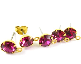 2 pcs - Gold Plated Preciosa Crystal Earring Posts with Loop Rhinestone Ear Studs Earring Finding Round 6.5mm - Fuchsia