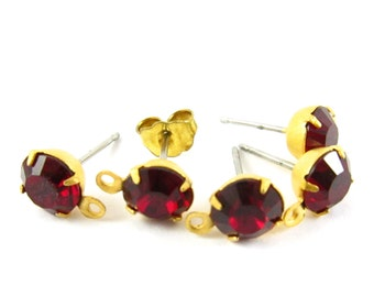 2 pcs - Gold Plated Swarovski Crystal Earring Posts with Loop Rhinestone Ear Studs Earring Finding Round 6.5mm - Siam Red