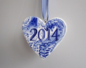 Made to order - Heart - Year Ornament - Hand painted porcelain  ornament -  Blue and white Dutch Delftware ornament