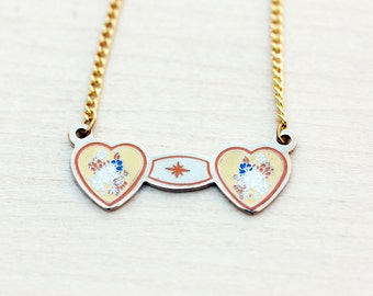 Sample Sale - Double Heart Necklace - Yellow and Orange