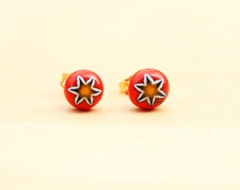 Red Flower Studs