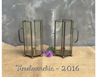 Candle Holders - Candlesticks - Glass Candle Holders - Brass Candelsticks - Bohemian Decor -  Geometric - CHIC