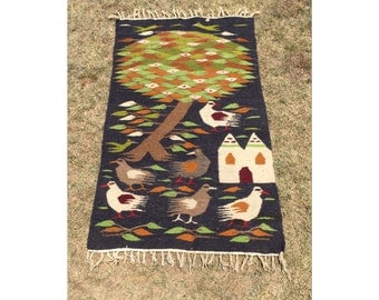 Rug - Throw Rug - -Wool Rug - Tapestry - Bohemian Decor - Textile - Wall Hanging - Southwestern Decor - Chic