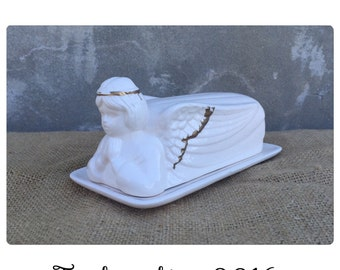 Butter Dish - Butter Dish with Lid - Shabby Chic Decor - Cherub - Angel - Butter Dish Vintage - Chic