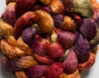 Superwash wool & Tencel Roving, 60/40 - Old Brass 4 oz.