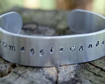 Hand Stamped Aluminum Bracelet - ID Bracelet - Memorial Bracelet - Name Bracelet - Custom Bracelet
