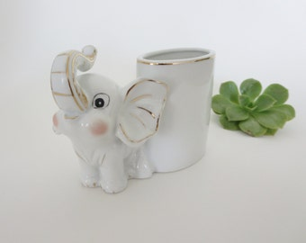 Vintage Elephant Planter - White Porcelain Elephant Planter Vase - Nursery Decor Planter - Air Plant Holder - Pencil Holder