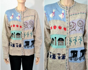 Vintage Wool Cardigan Sweater Country Farm Scenes Amish Sweater