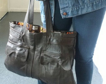 large brown leather bag, recycled leather, leather tote bag, manbag, large bag, recycled leather bag, upcycled leather bag, book bag