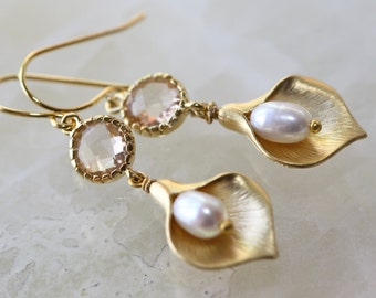 Bridal Earrings, Champagne White Pearls Calla Lily Gold Earrings, Easter Spring Trend, Birthday Gift for Wife, Summer Weddings, Mothers Day