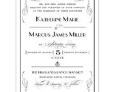 Elegant Formal Great Gatsby Art Deco Inspired Invitation - Collection options available